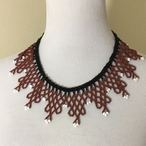 Beaded BoHo Necklace Bohemian Rust Black Suede